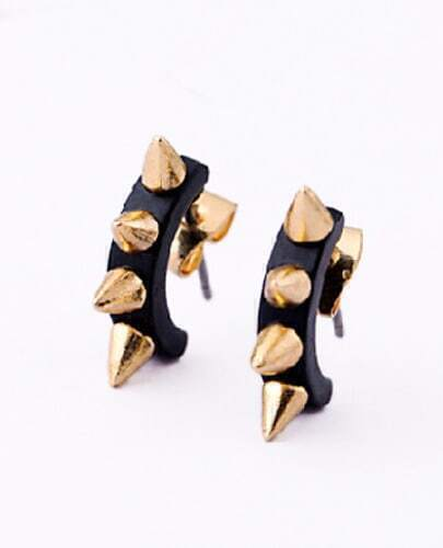Black Rivet Stud Earrings