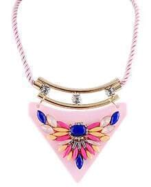 Multicolor Gemstone Pink Collar Necklace