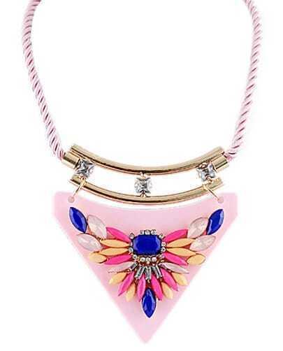 Multicolor Gemstone Pink Collar Necklace
