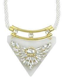 White Gemstone Collar Necklace