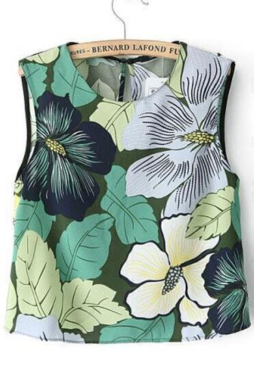 Green Sleeveless Leaves Print Crop Tank Top