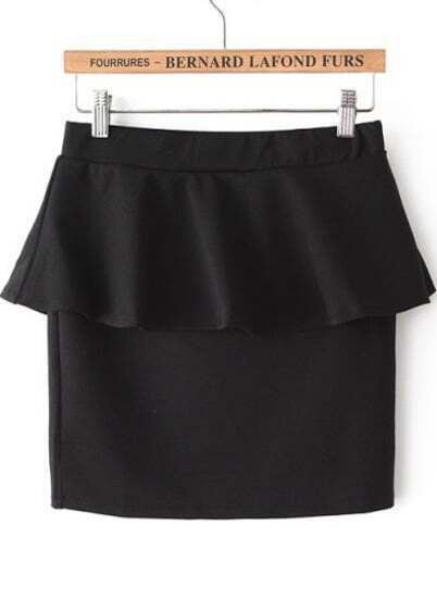 Чёрная обтягивающая юбка с рюшами