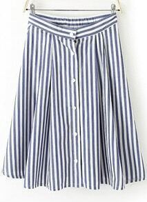 Blue and White Vertical Stripe Knee Length Dress