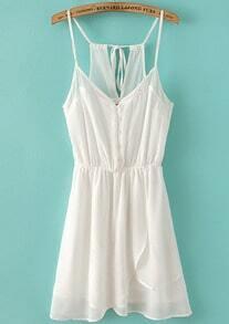 White Spaghetti Straps Buttons Front Chiffon Slip Dress -SheIn(Sheinside)
