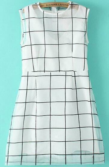 White Sleevless Plaid Print Organza Dress