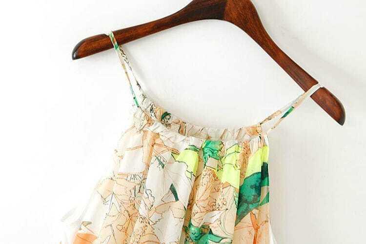 Yellow And Green Sleevless Florals Print Maxi Dress -SheIn(Sheinside