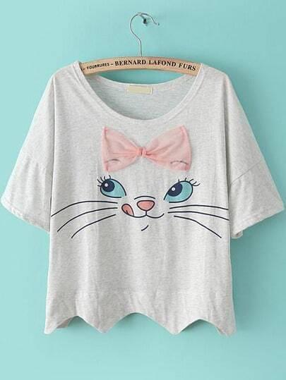 Grey Short Sleeve Bow Cat Print Crop T-shirt