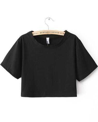 Black Short Sleeve Crop T-shirt