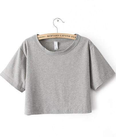 Light Grey Short Sleeve Crop T-shirt
