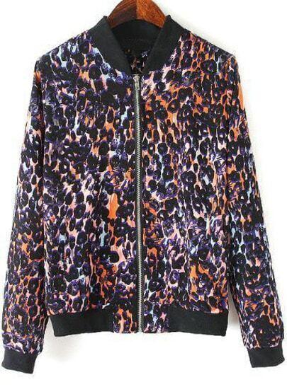 Black Retro Leopard Print Long Sleeve Jacket