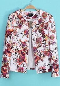 White Florals Print Round Neck Long Sleeve Jacket