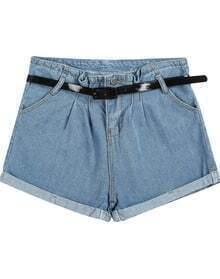 Blue High Waist Flange Denim Shorts