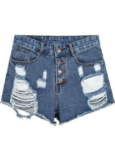 Navy High Waist Ripped Denim Shorts