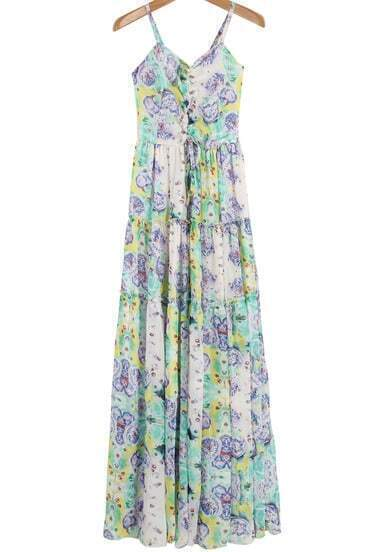 Green Spaghetti Strap Rose Print Pleated Dress