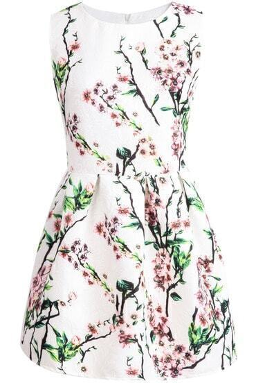 White Sleeveless Plum Flower Print Dress