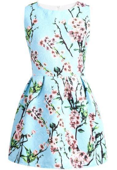 Blue Sleeveless Plum Flower Print Dress