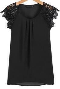 Black Round Neck Floral Crochet Chiffon Blouse