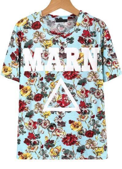 Blue Short Sleeve Floral Triangle MARN Print T-Shirt