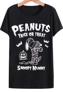 Black Short Sleeve Letters Snoopy Print T-Shirt