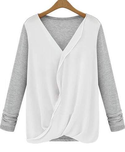 Grey V Neck Long Sleeve Contrast Chiffon Blouse