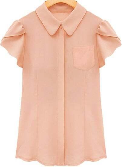 Pink Lapel Ruffle Short Sleeve Chiffon Blouse