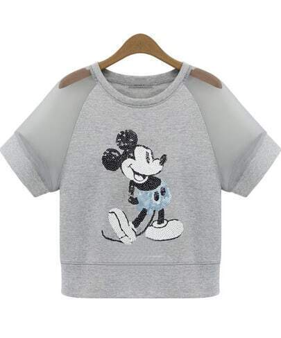 Grey Contrast Sheer Mesh Yoke Mickey Sequined T-Shirt