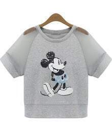 Grey Contrast Sheer Mesh Yoke Mickey Sequined T-Shirt