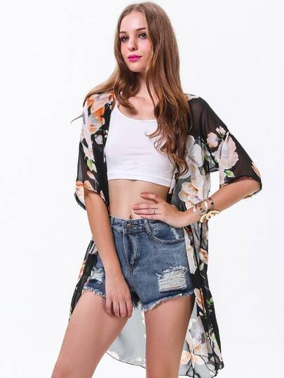 Black Short Sleeve Floral Loose Chiffon Blouse