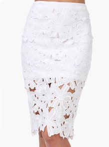 White Crochet Pencil Skirt