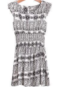 Black Sleeveless Vintage Geometric Print Dress