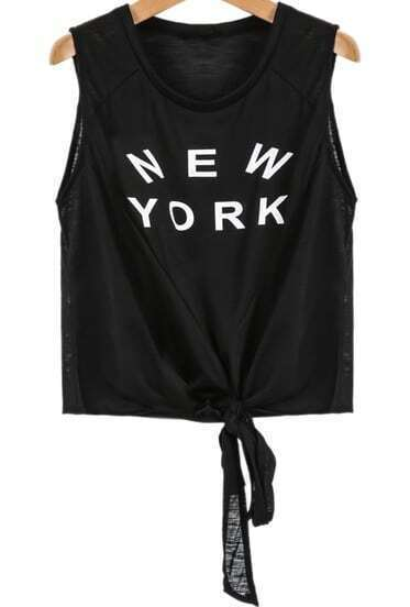 Black Sleeveless NEW YORK Print Vest