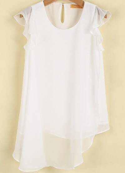 Camiseta gasa dobles sin manga-blanco
