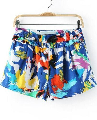 Blue Elastic Waist Graffiti Print Shorts