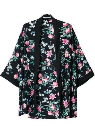 Black Long Sleeve Floral Loose Kimono