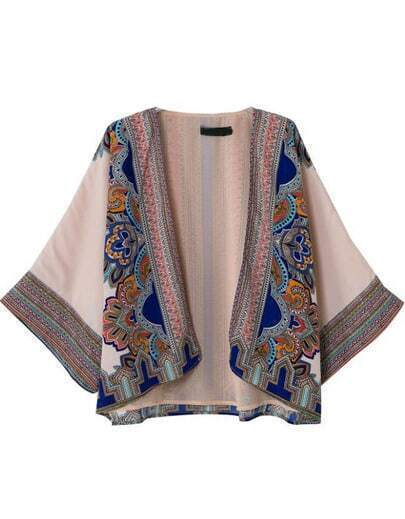Apricot Long Sleeve Tribal Print Loose Kimono