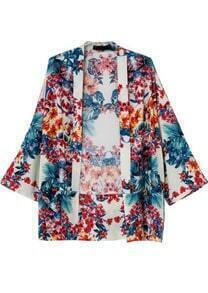 Blue Red Floral Loose Kimono