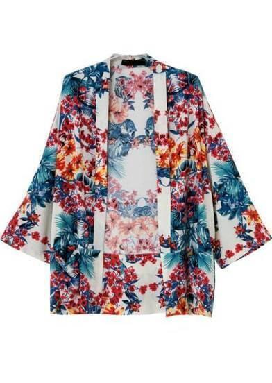 Blue Red Floral Loose Kimono