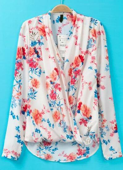 White V Neck Long Sleeve Floral Asymmetrical Blouse -SheIn(Sheinside)