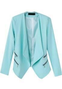 Blue Lapel Long Sleeve Zipper Crop Blazer