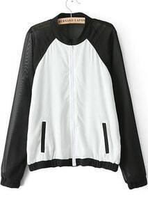 White Black Chiffon Long Sleeve Pockets Jacket