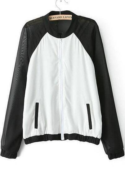 White Black Chiffon Long Sleeve Pockets Jacket