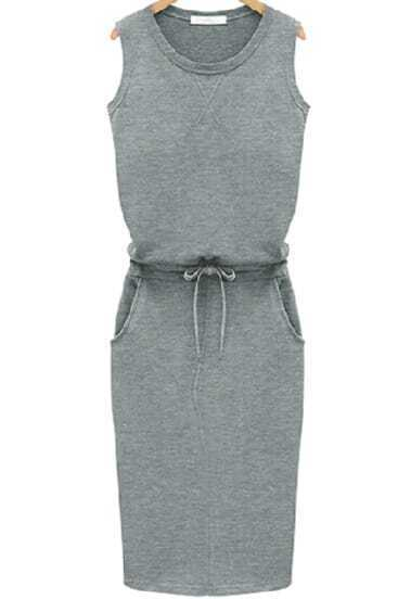 Grey Knittet Sleeveless Drawstring Slim Pockets Dress