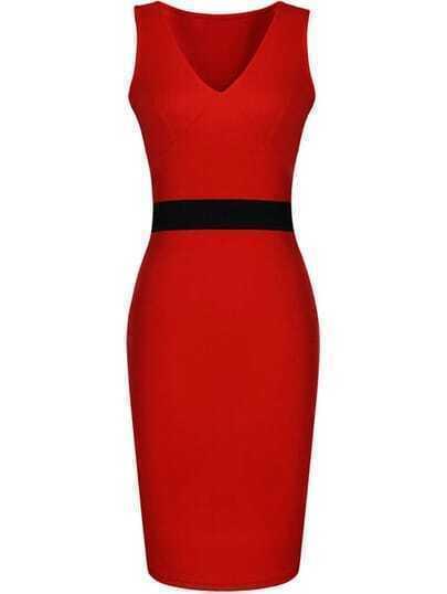 Red V Neck Overalls Sleeveless Skinny Body Conscious Dress
