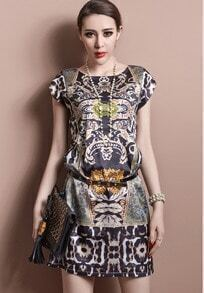 Black Short Sleeve Vintage Print Organza Dress