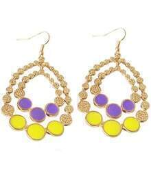 Multicolor Gemstone Gold Round Earrings