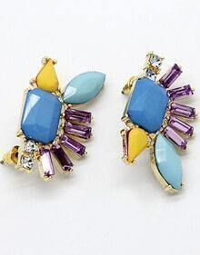 Blue Gemstone Gold Diamond Stud Earrings