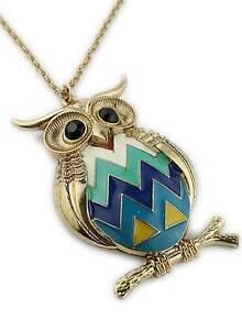Gold Glaze Owl Chain Necklace