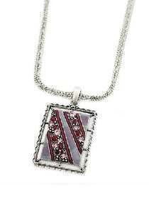 Red Diamond Silver Chain Necklace