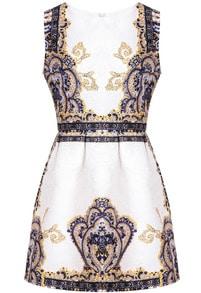Blue Sleeveless Vintage Floral Jacquard Dress