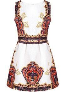 Red Sleeveless Vintage Floral Jacquard Dress
